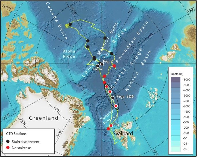 Acoustic Mapping Of Thermohaline Staircases In The Arctic Ocean - Oceanographic map