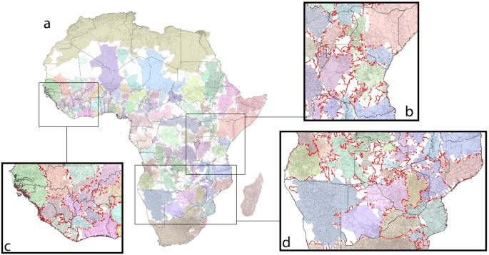 africa road network community mapping for the strongest configuration of communities with bridge areas of low connectivity identified for a africa