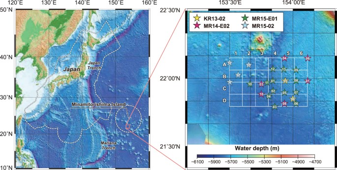 locality and bathymetric maps of the research area star symbols show the piston coring sites and the color coding corresponds to each research cruise as