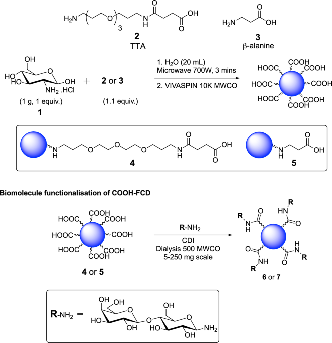 General Synthetic Preparation And Lactose Functionalization For COOH FCDs 4 5
