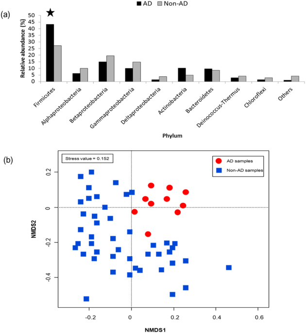 5d7800d1a9ce8 Relative abundance of airborne bacterial community structures between AD  events and non-AD events (a) and non-metric multidimensional scaling (NMDS)  ...