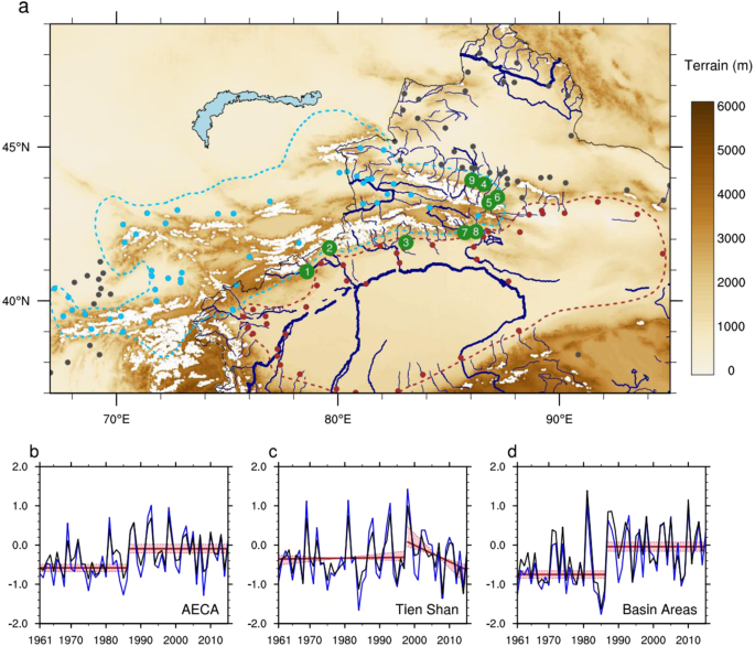 (a) Topographic features and hydrological networks in arid eastern–central  Asia (AECA). Major rivers in the Chinese portion of AECA are drawn in blue.
