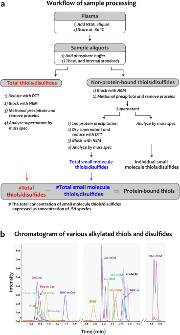 a workflow for sample processing for ms analysis b a representative uplc chromatogram for a panel of disulfides and nem alkylated thiols