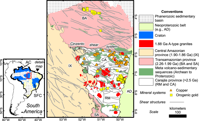 Archean crust and metallogenic zones in the Amazonian Craton