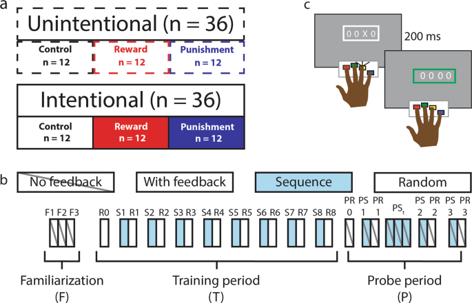 Intention to learn modulates the impact of reward and punishment on sequence learning