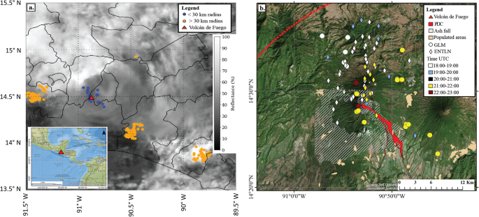Observations of lightning in relation to transitions in volcanic activity during the 3 June 2018 Fuego Eruption