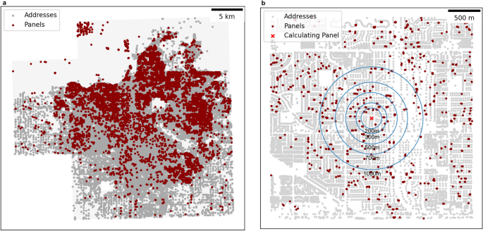 Decay radius of climate decision for solar panels in the city of Fresno, USA