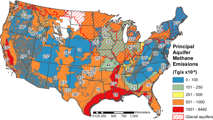Methane Emissions From Groundwater Pumping In The Usa Npj Climate - Aquifer-map-us