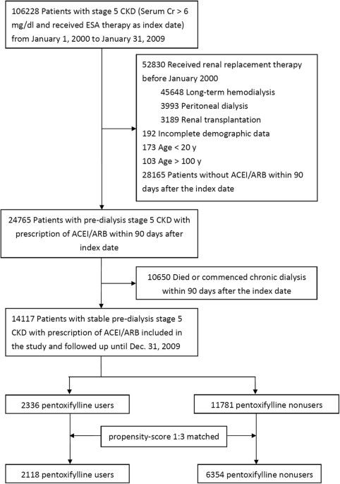 Add On Protective Effect Of Pentoxifylline In Advanced Chronic Kidney Disease Treated With Renin Angiotensin Aldosterone System Blockade A Nationwide Database Analysis Scientific Reports