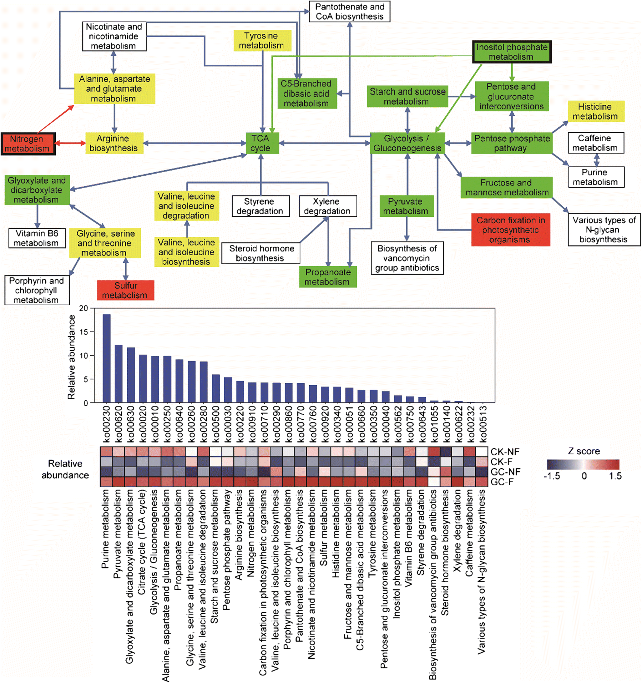 Metagenomic exploration of the interactions between N and P cycling