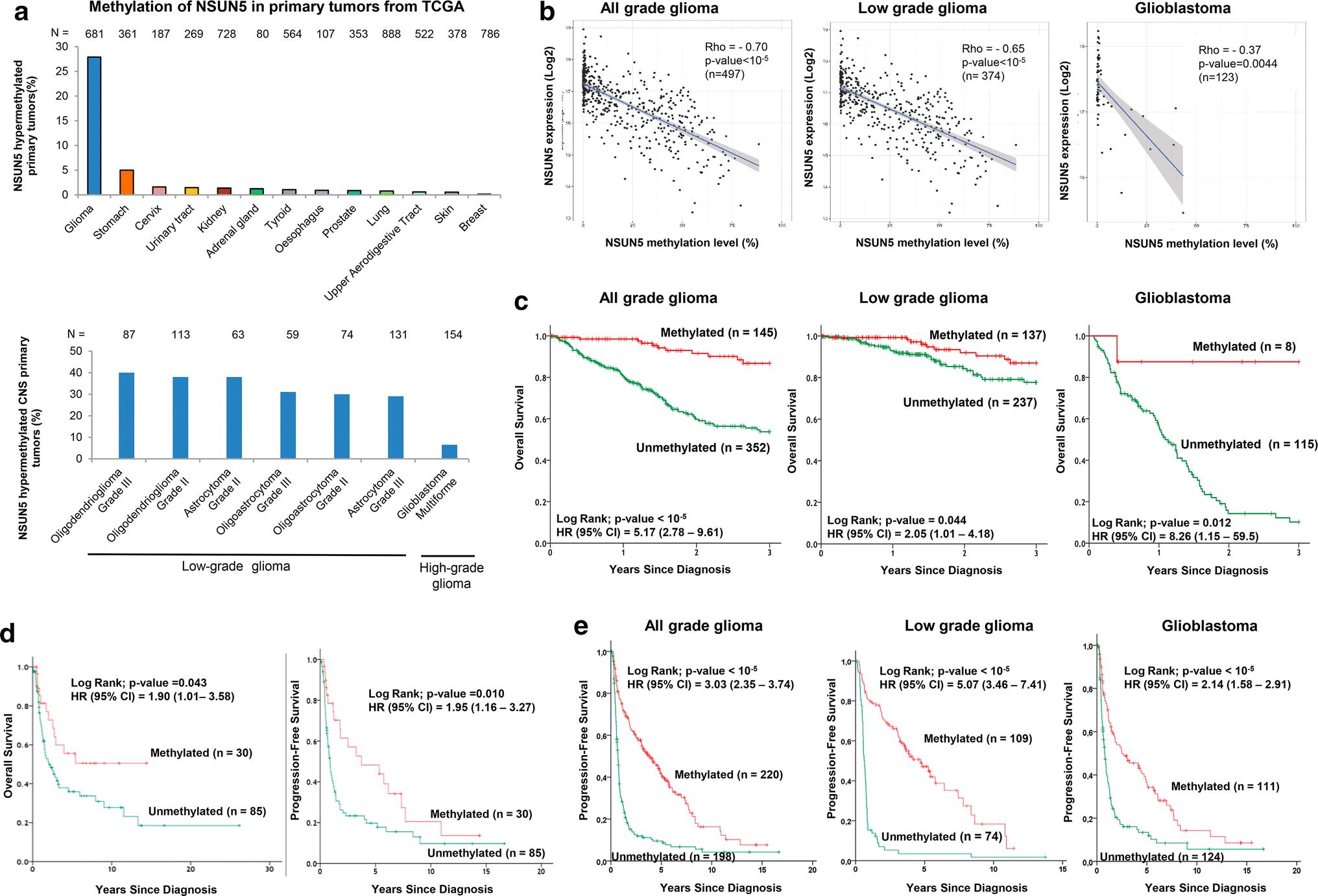 Epigenetic loss of RNA-methyltransferase NSUN5 in glioma