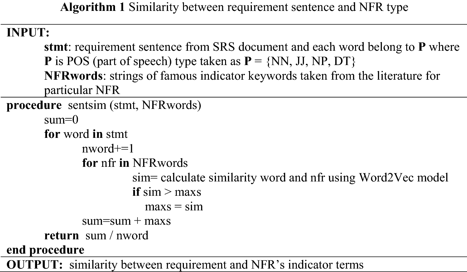 Extraction of non-functional requirement using semantic similarity
