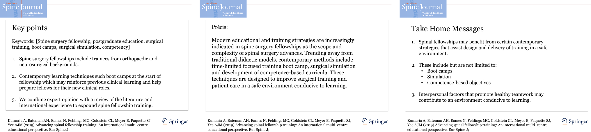 Advancing spinal fellowship training: an international multi