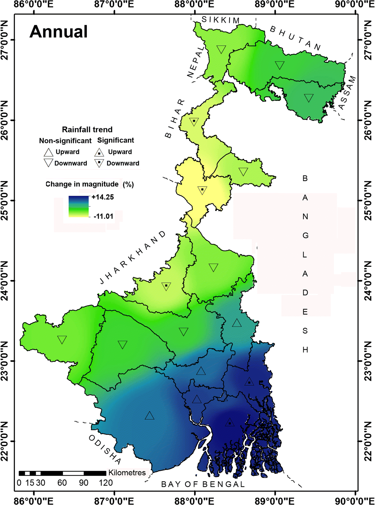 Analysis of long-term rainfall trends and change point in