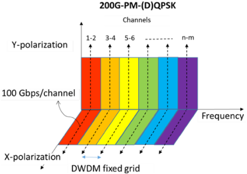 Performance evaluation of 100 and 200-Gb/s WDM PM-QPSK transmission