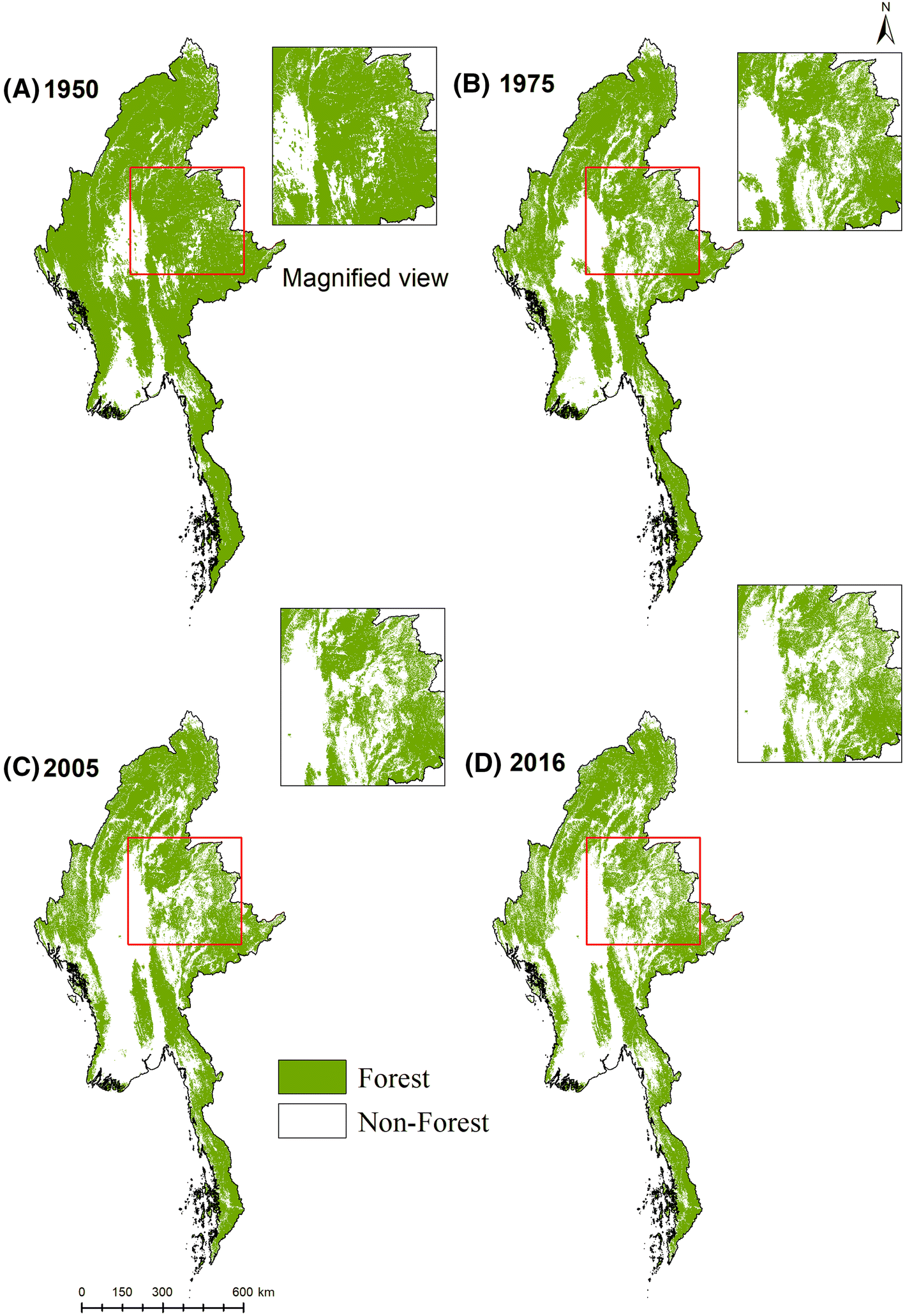 Quantifying and predicting multi-decadal forest cover