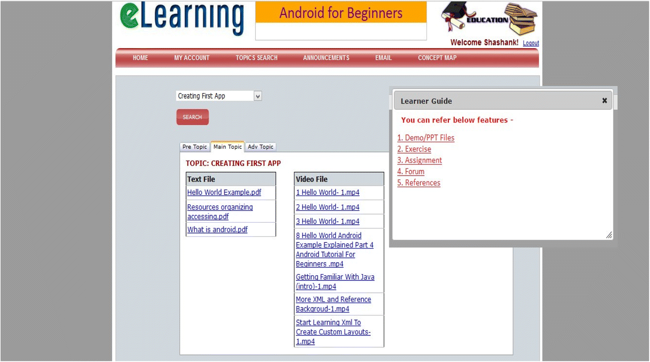 Rule based adaptive user interface for adaptive E-learning system