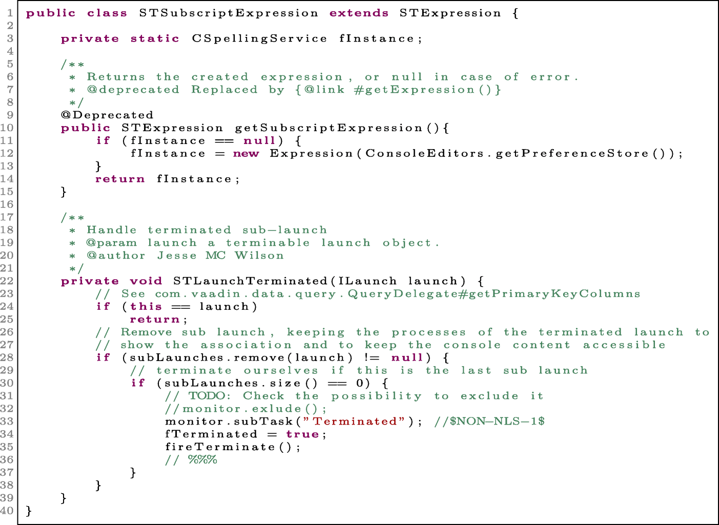 Classifying code comments in Java software systems
