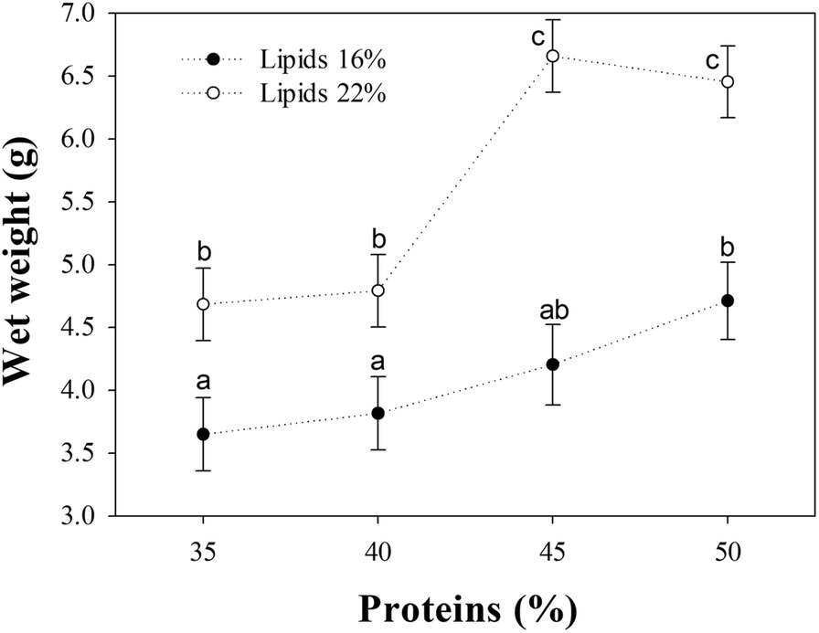 Protein and lipid requirements of three-spot cichlid Cichlasoma
