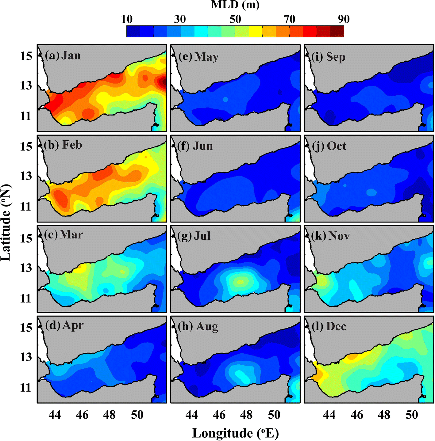 Climatology of mixed layer depth in the Gulf of Aden derived