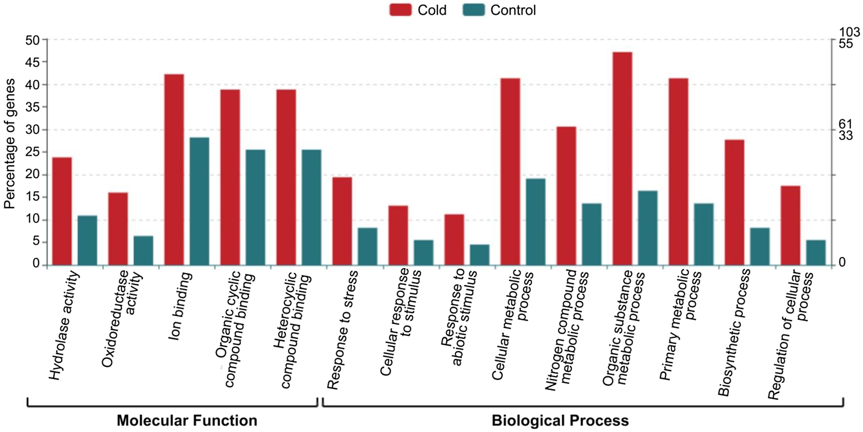 Transcriptomic response of durum wheat to cold stress at