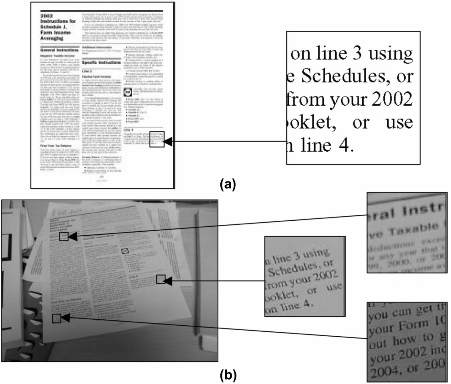 Text recognition in document images obtained by a smartphone based