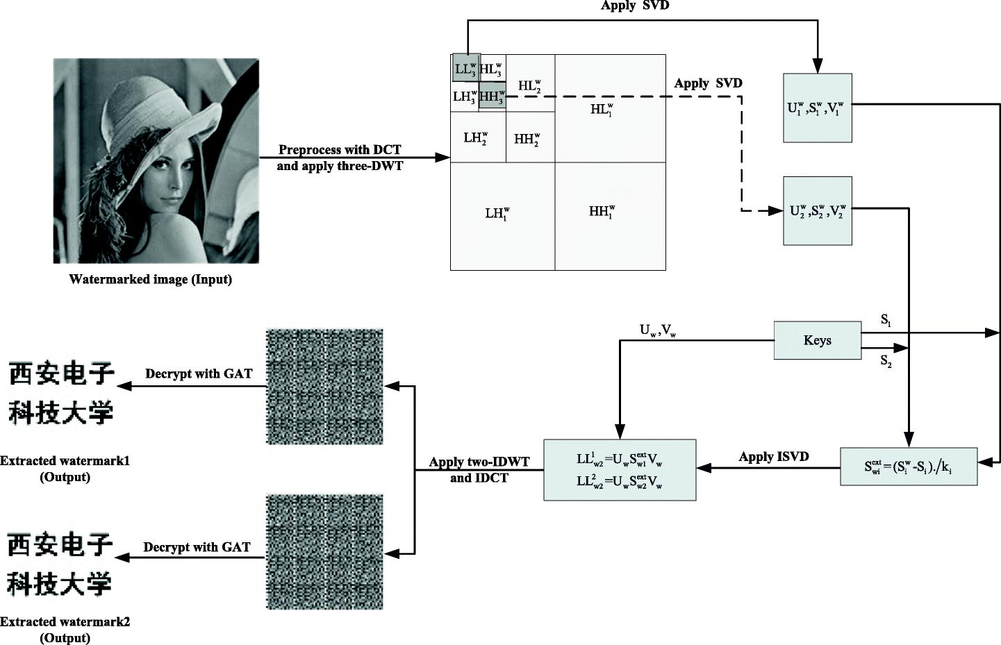 Dual DCT-DWT-SVD digital watermarking algorithm based on