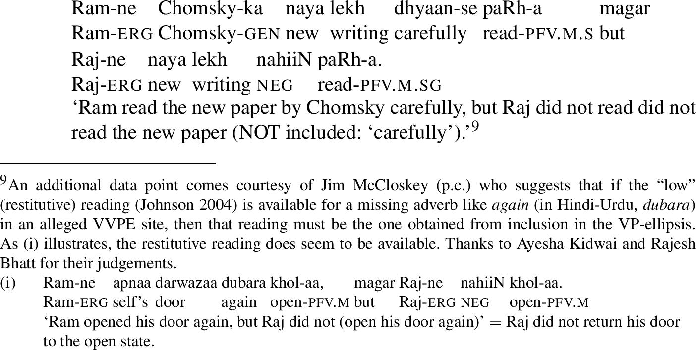 Verb-phrase ellipsis and complex predicates in Hindi-Urdu