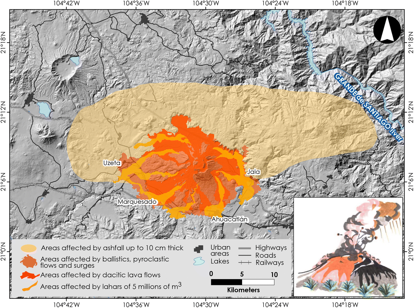 Ceboruco hazard map: part II—modeling volcanic phenomena and