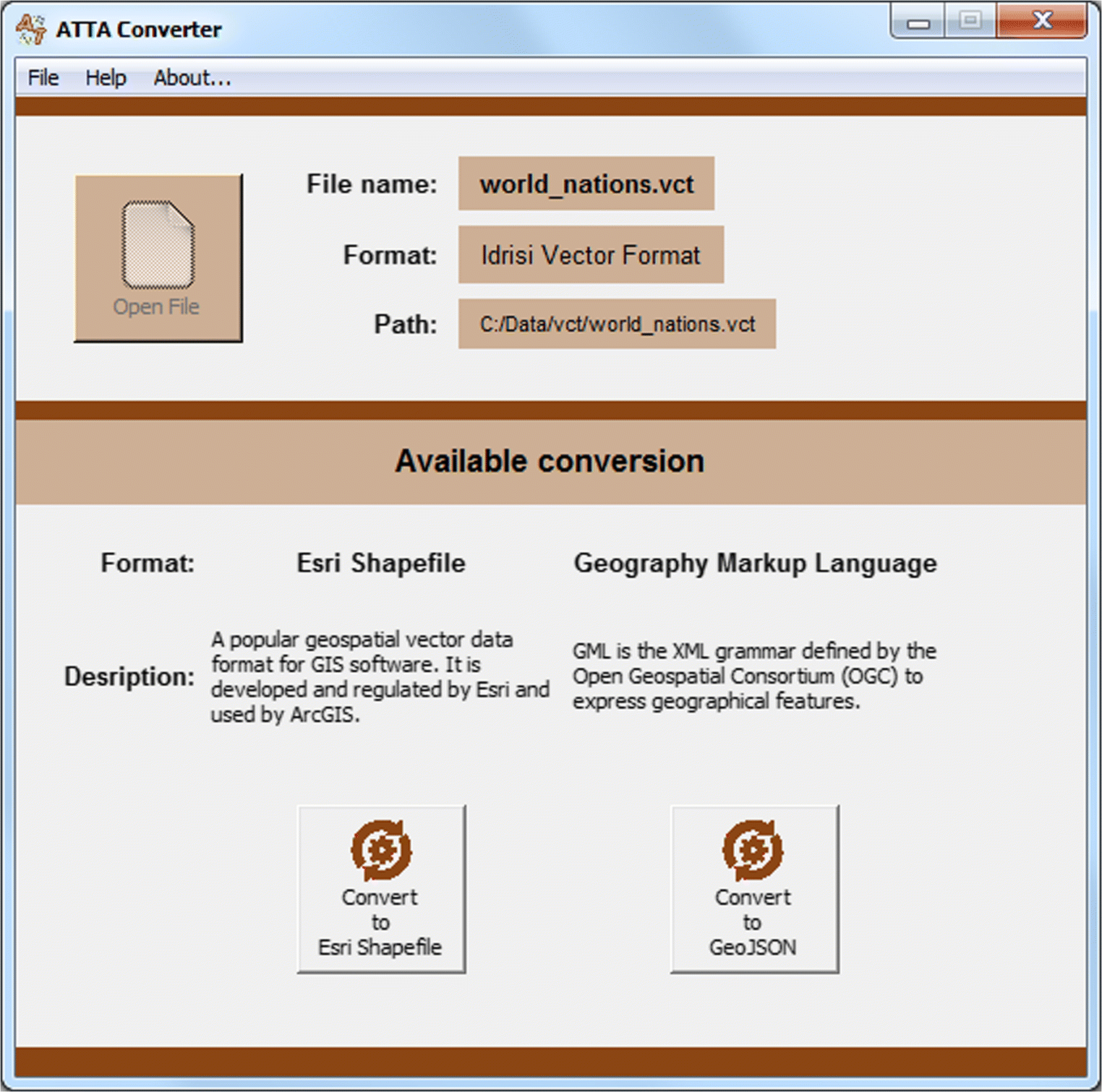 ATTA converter: software for converting data between ArcGIS