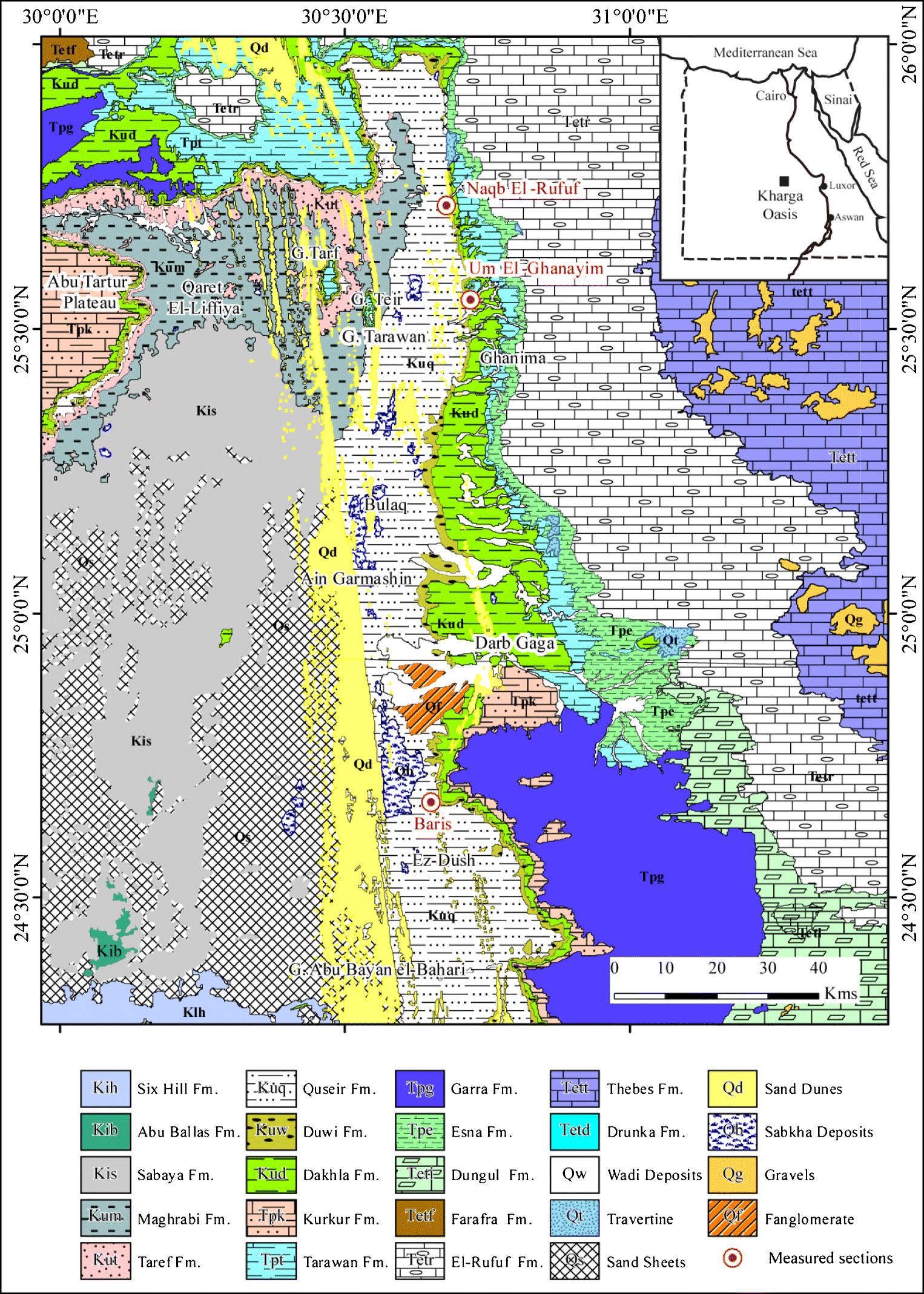 Carte De Linde Avec Region Tracees.Campanian Lower Paleogene Gastropods From The Kharga Oasis