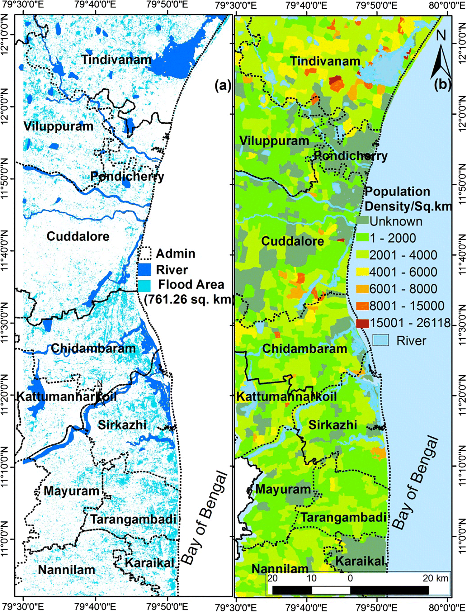 Geospatial Assessment of Flood Hazard Along the Tamil Nadu