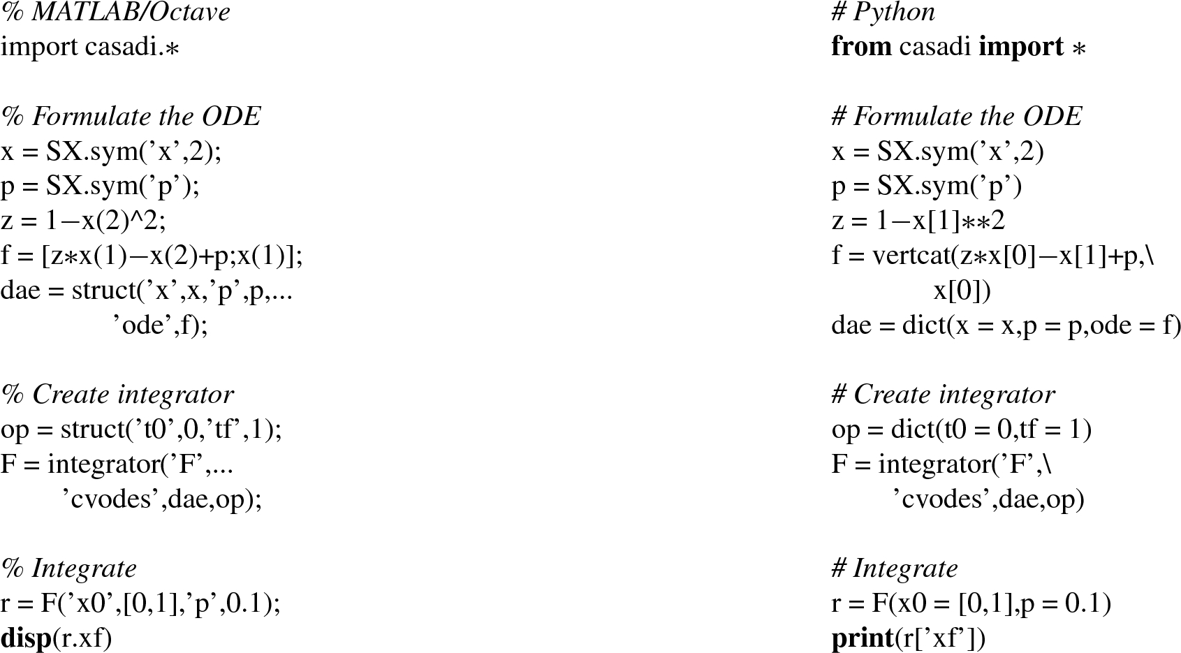 CasADi: a software framework for nonlinear optimization and