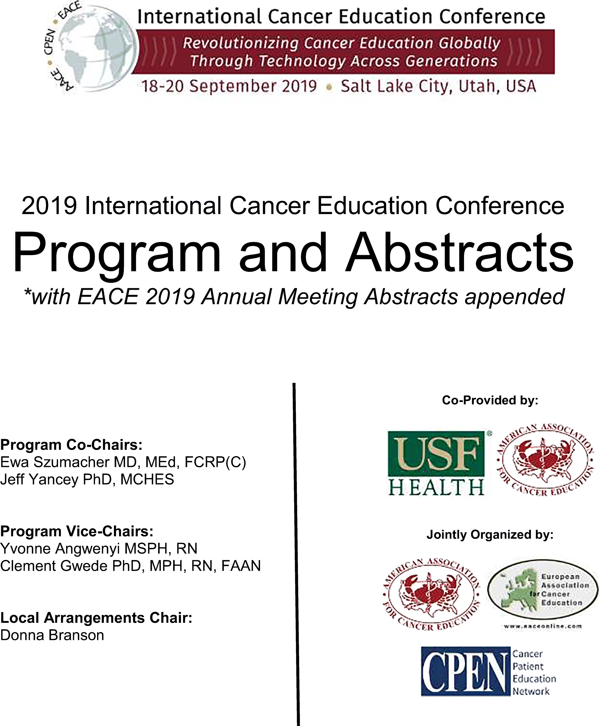 2019 International Cancer Education Conference Program and