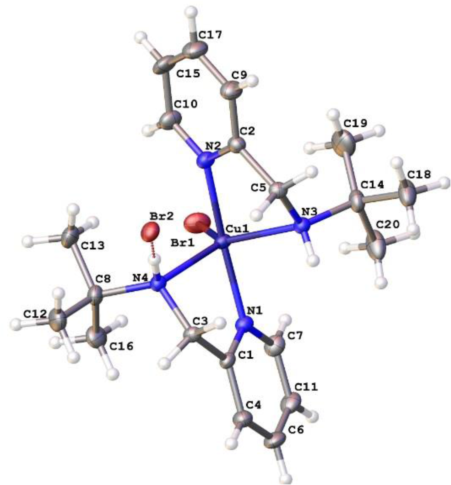 Mononuclear copper(II) complexes containing chelating ligand of 2