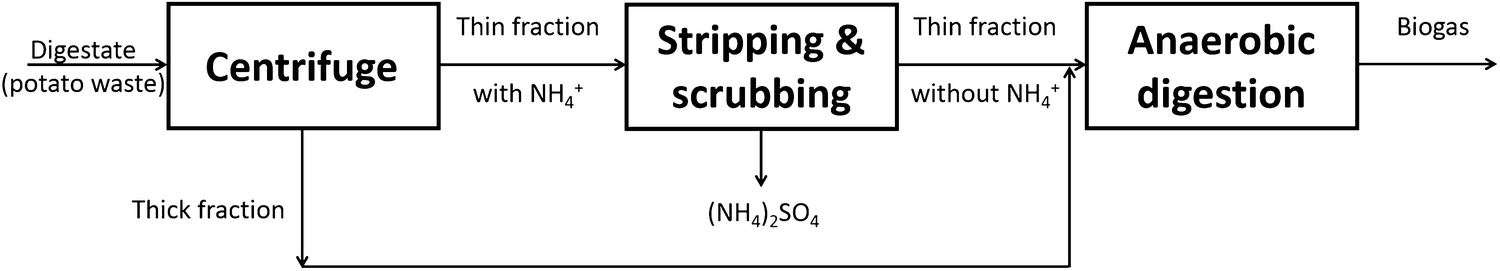 Stripping and scrubbing of ammonium using common