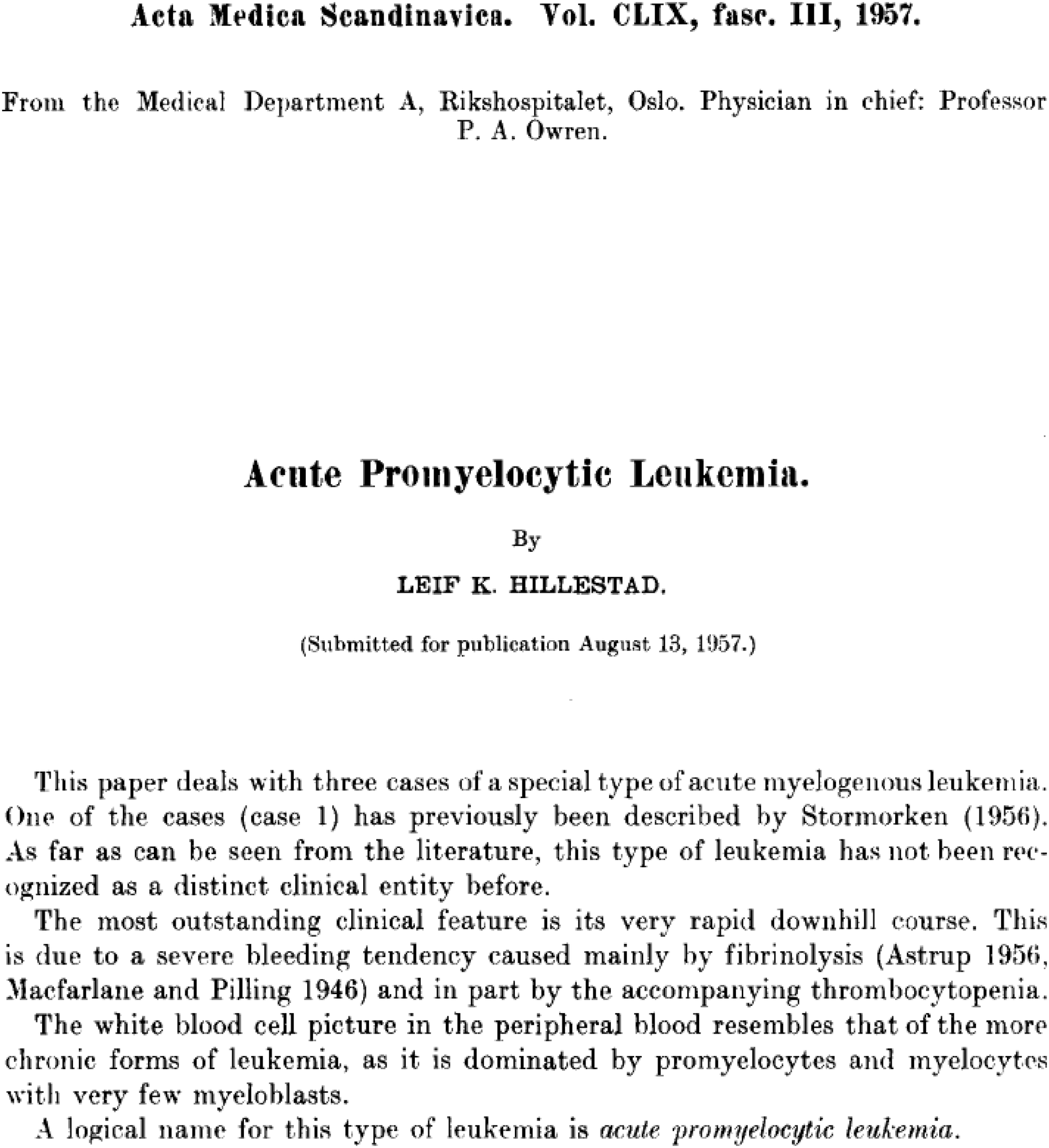 1534fbe7a4d Acute Promyelocytic Leukemia: A History over 60 Years—From the Most ...