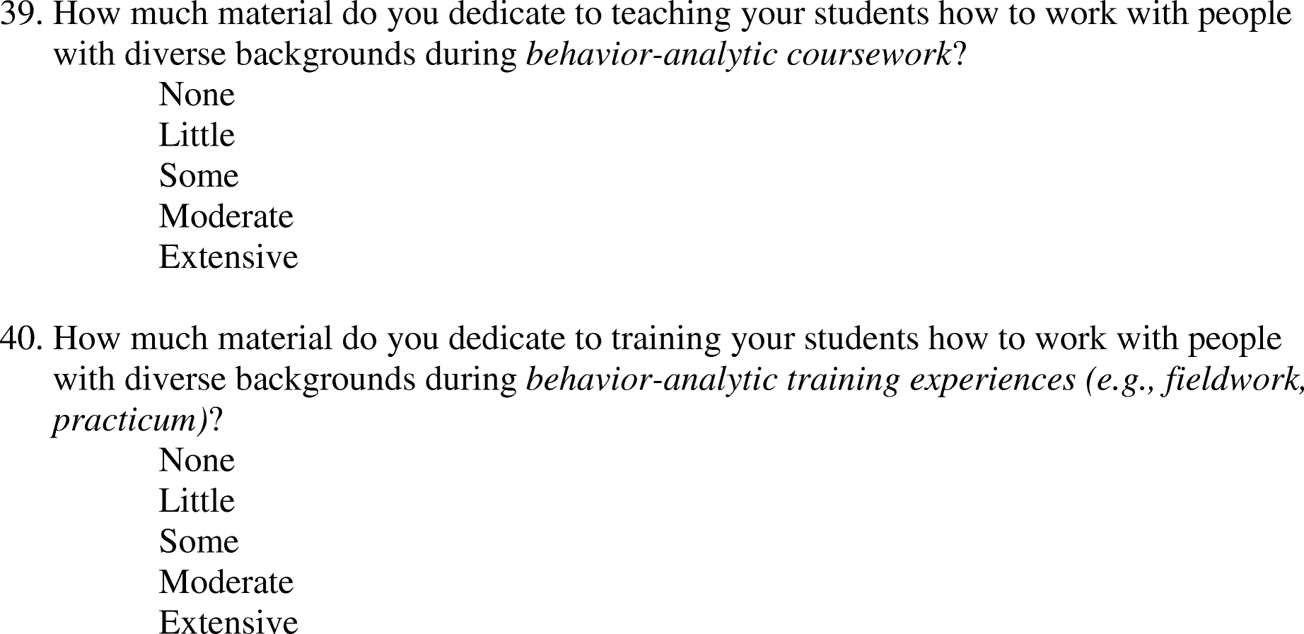 Behavior Analysts' Training and Practices Regarding Cultural