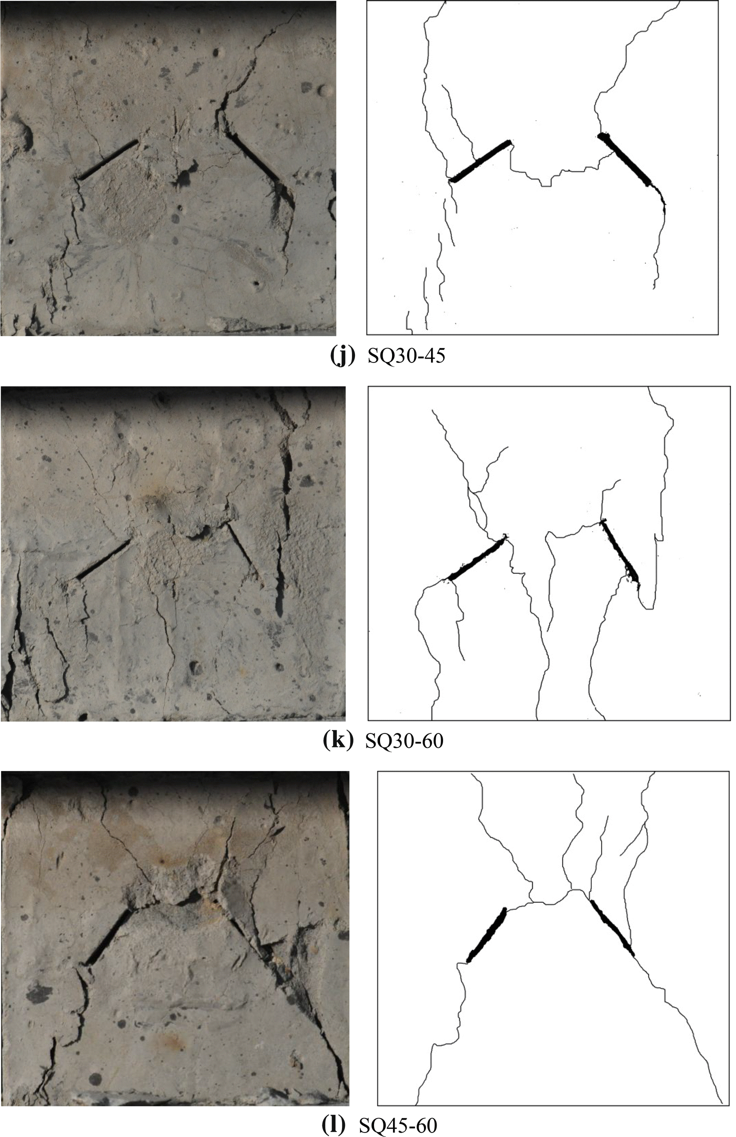 Non Parallel Double Crack Propagation In Rock Like Materials