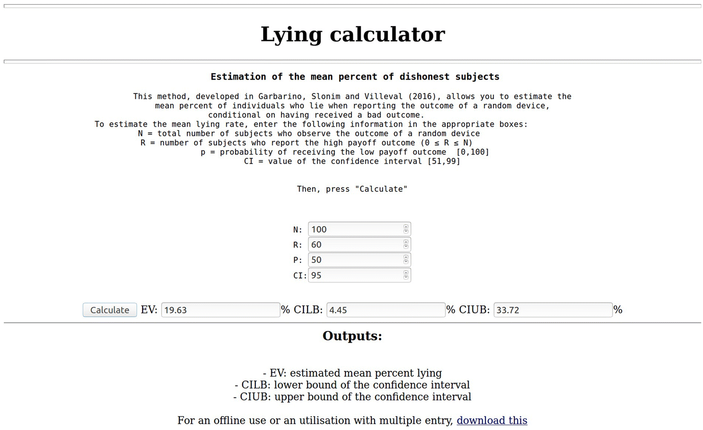 A method to estimate mean lying rates and their full