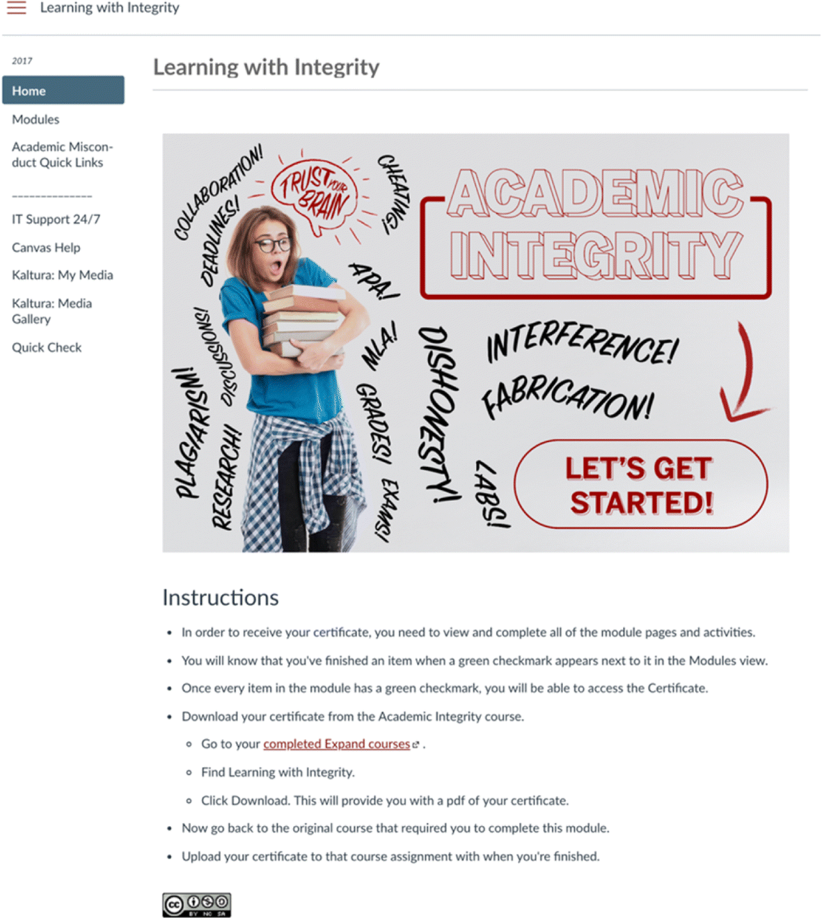 Promoting academic integrity through a stand-alone course in the
