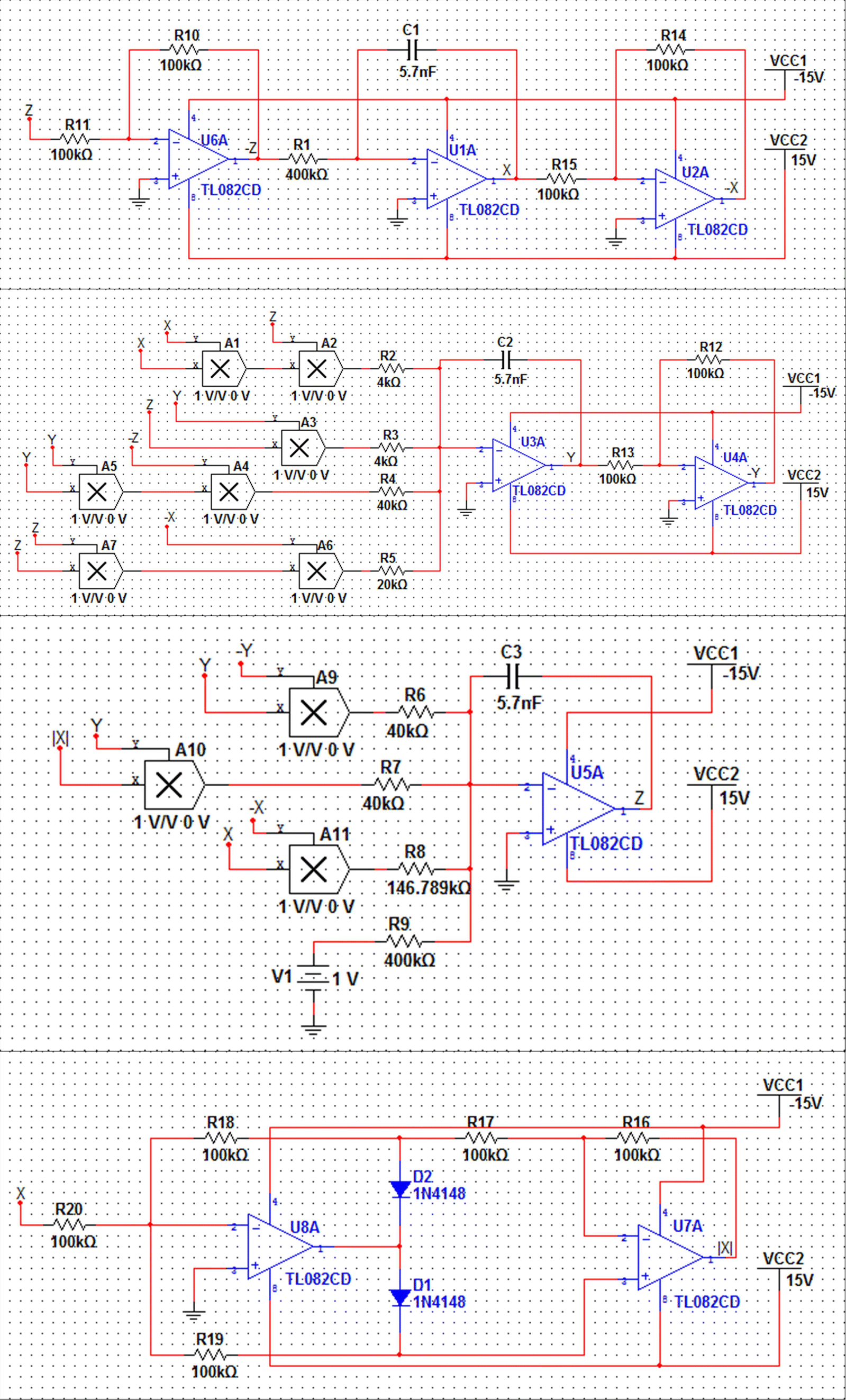 A Novel Chaotic System With Boomerang Shaped Equilibrium Its Relay Circuit In Multisim Fig 5 Schematic