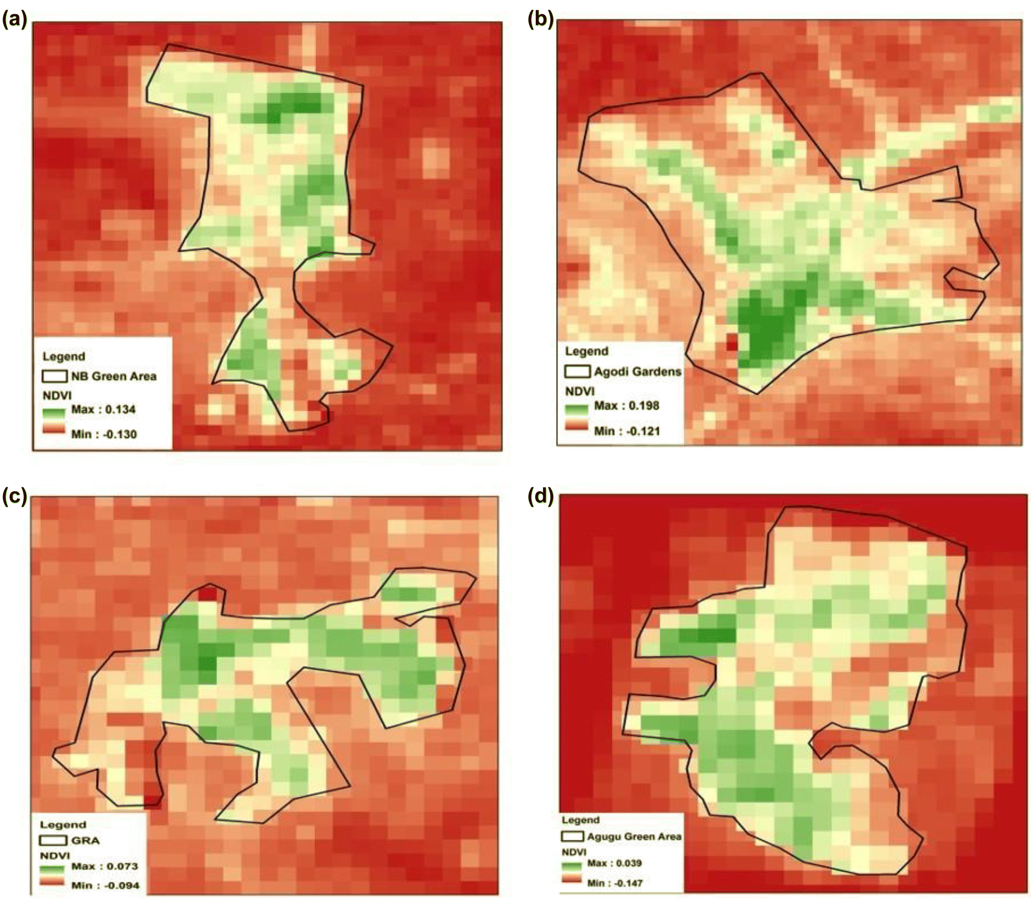 The impact of urban green areas on the surface thermal environment on