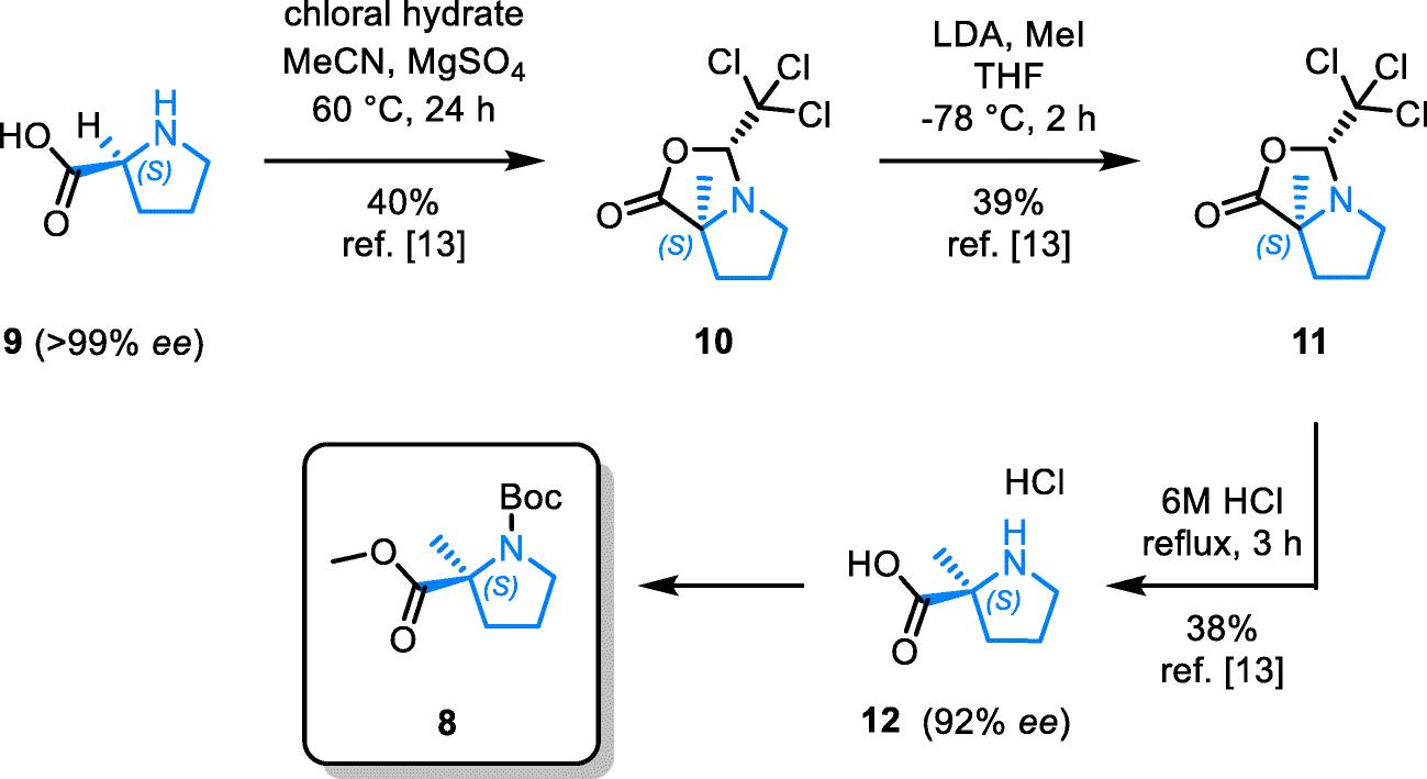 Enantiospecific cyclization of methyl N-( tert