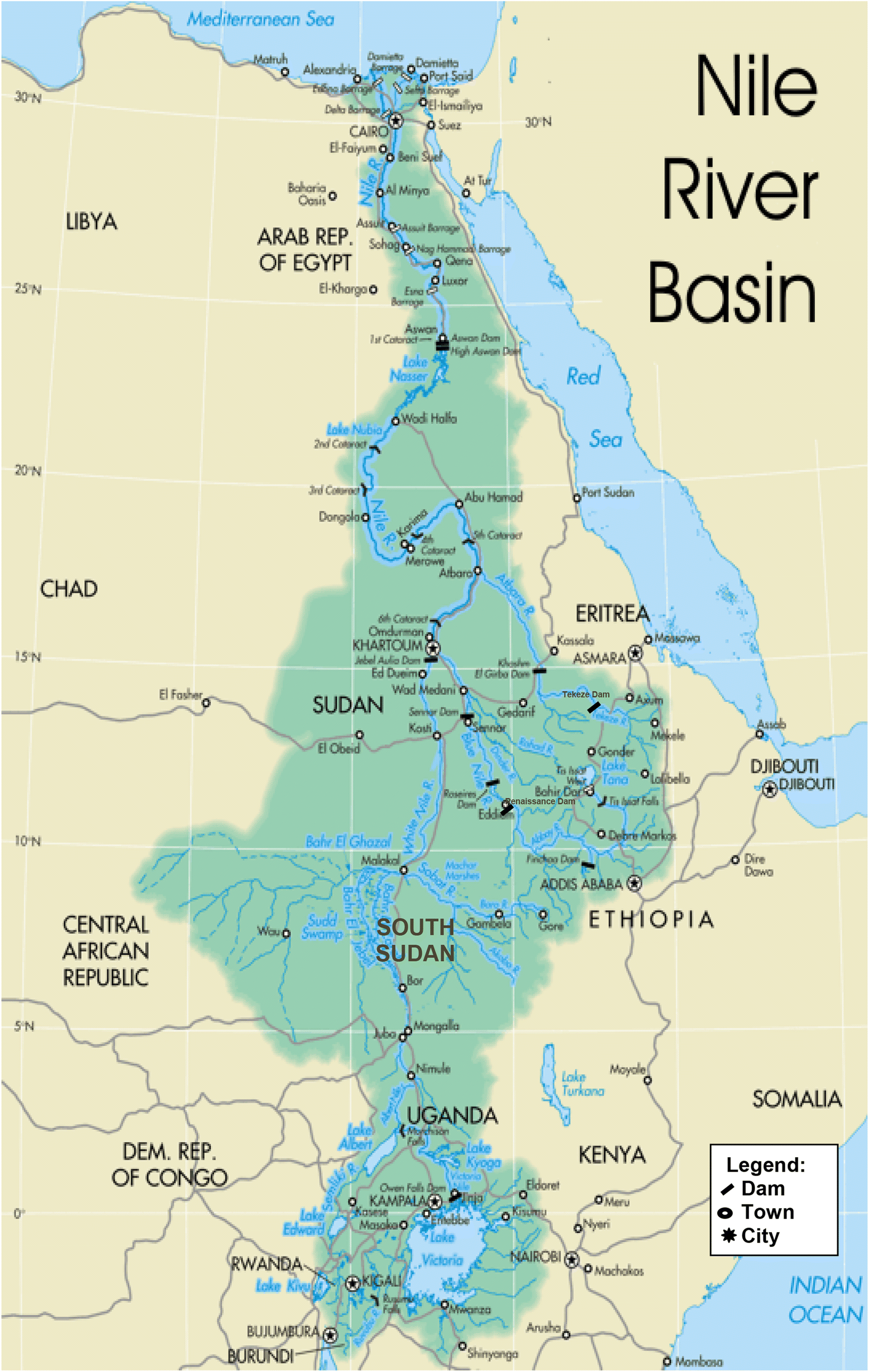 Estimation of evaporation losses from water bodies in the Sudan and