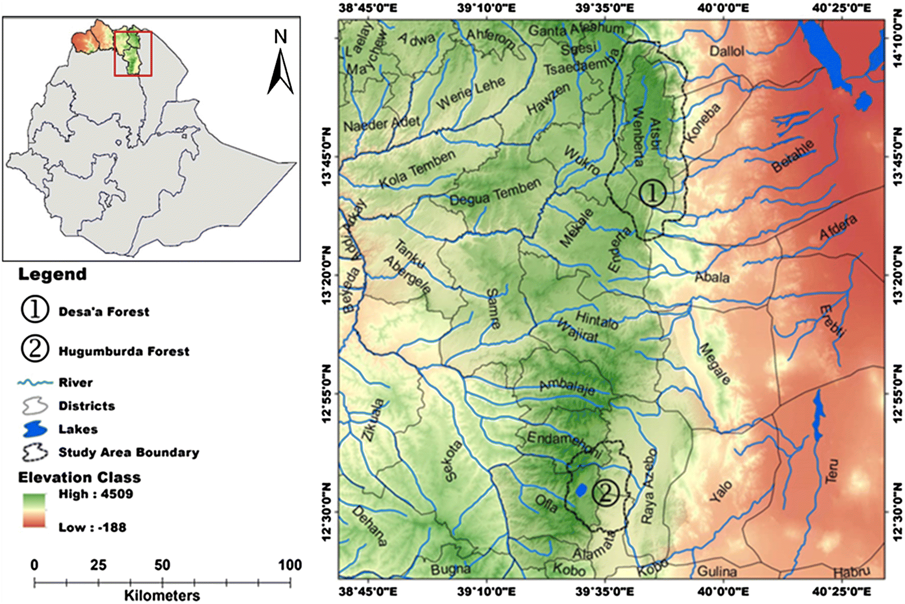 Growth trajectories and ages of main tree species in dry Afromontane