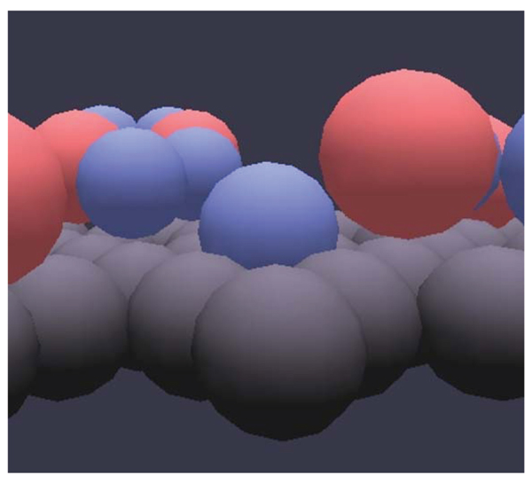 Animated molecular dynamics simulations of hydrated caesium-smectite
