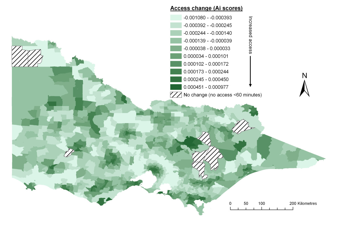 Spatial accessibility of primary health care utilising the