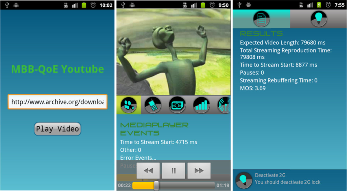 YouTube QoE evaluation tool for Android wireless terminals