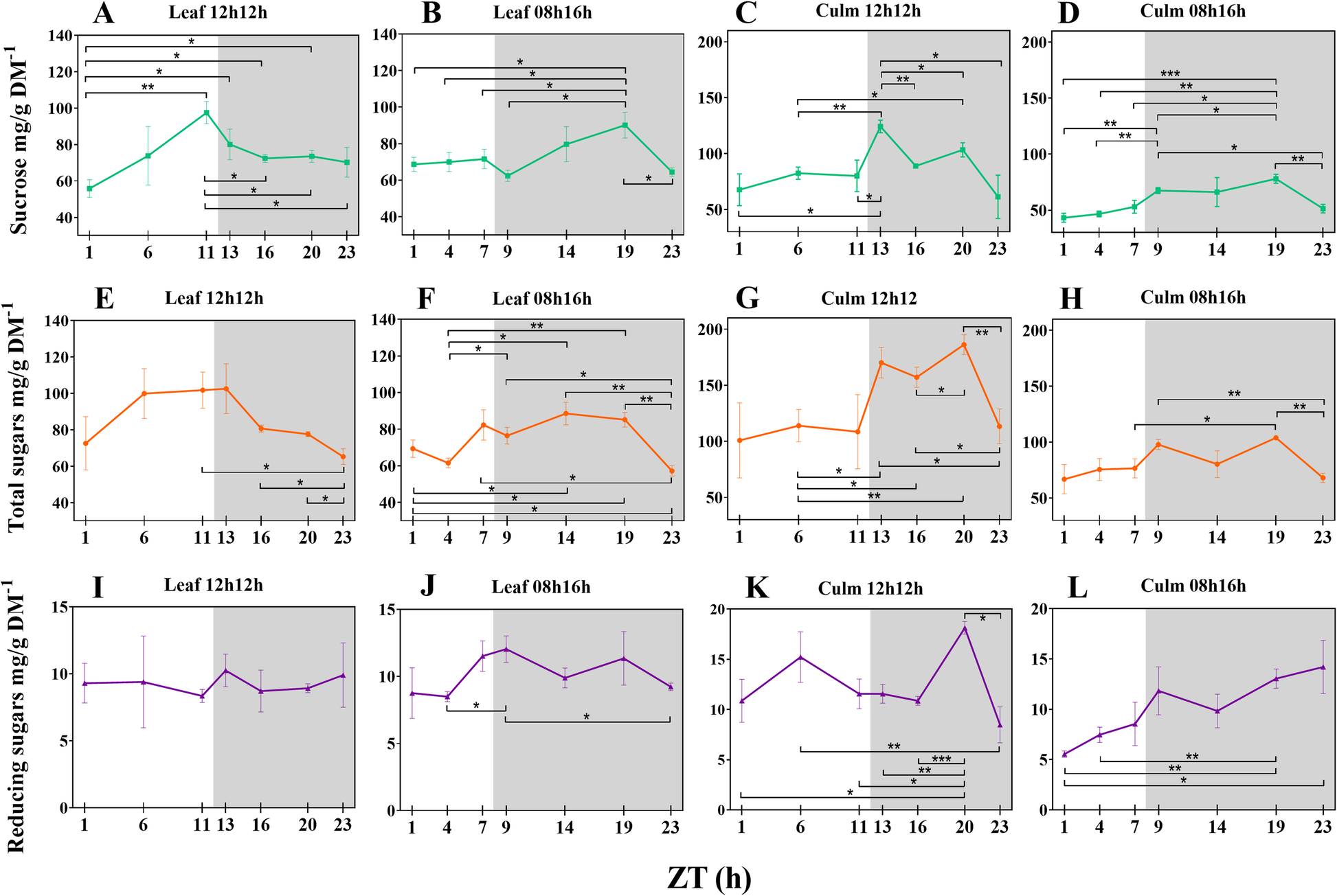 Diel oscillations in cell wall components and soluble sugars as a